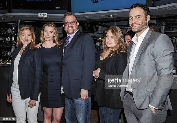 Edie Falco Betty Gilpin Stephen Wallem Merritt Wever and Dominic Fumusa Ring The New York Stock Exchange Opening Bell at New York Stock Exchange on...