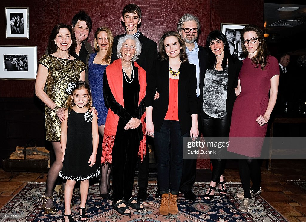 Edie Falco, Christopher Evan Welch, Heidi Schreck, Seth Clayton, Frances Sternhagen, Phoebe Strole, John Ellison Conlee, Leigh Silverman, Liz Flaive and Brooke Ashley Laine attend 'The Madrid' opening night party at Red Eye Grill on February 26, 2013 in New York City.