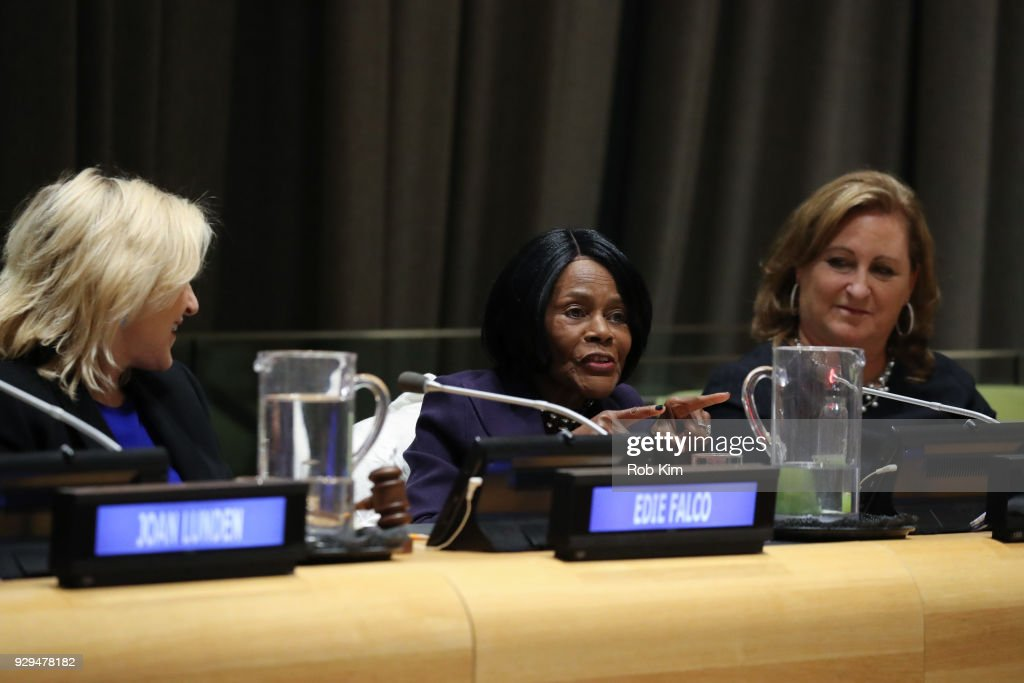 Edie Falco, Cicely Tyson, Cyma Zarghami attend International Women's Day The Role of Media To Empower Women Panel Discussion at the United Nations on March 8, 2018 in New York City.
