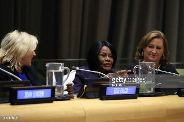 Edie Falco Cicely Tyson Cyma Zarghami attend International Women's Day The Role of Media To Empower Women Panel Discussion at the United Nations on...