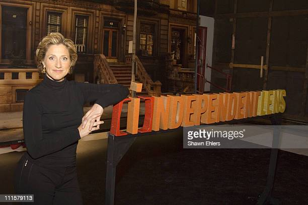 Edie Falco during Edie Falco Hosts the New PBS Series Independent Lens at Silvercup Studios in New York City New York United States