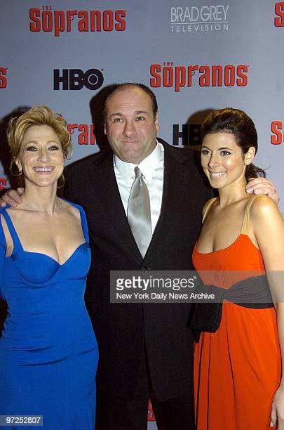 Edie Falco James Gandolfini and JamieLynn Sigler attend the world premiere of the sixth season of 'The Sopranos' at the Museum of Modern Art in...
