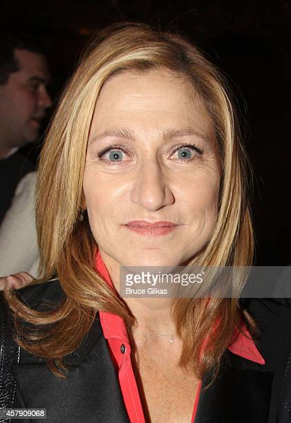 Edie Falco poses at The Opening Night of The Last Ship on Broadway at The Neil Simon Theatre on October 26 2014 in New York City