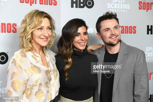 Edie Falco Robert Iler and JamieLynn Sigler attend the The Sopranos 20th Anniversary Panel Discussion at SVA Theater on January 09 2019 in New York...