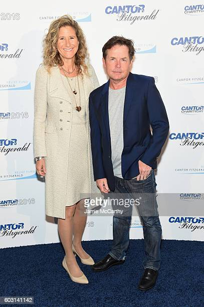 Edie Lutnick and Michael J Fox attend the Annual Charity Day hosted by Cantor Fitzgerald BGC and GFI at Cantor Fitzgerald on September 12 2016 in New...