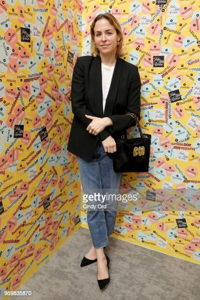 Edie Parker designer Brett Heyman attends a panel discussion on power dressing with Bumble's Sara Erin Foster and designer Andrea Lieberman hosted by...