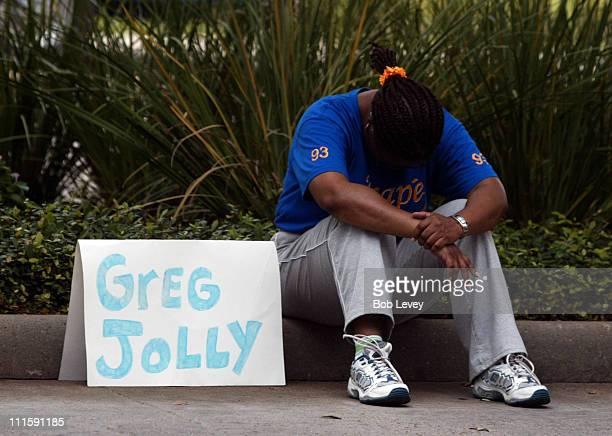 Edie Phillips of Austin Texas hopes to find her friend Greg Jolly as evacuees from New Orleans arrive at the George R Brown Convention Center...