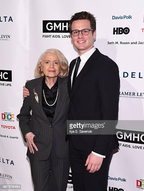 Edie Windsor and Jonathan Groff attend the 2015 Gay Men's Health Crisis Gala Honoring Larry Kramer at Cipriani 42nd Street on March 23 2015 in New...