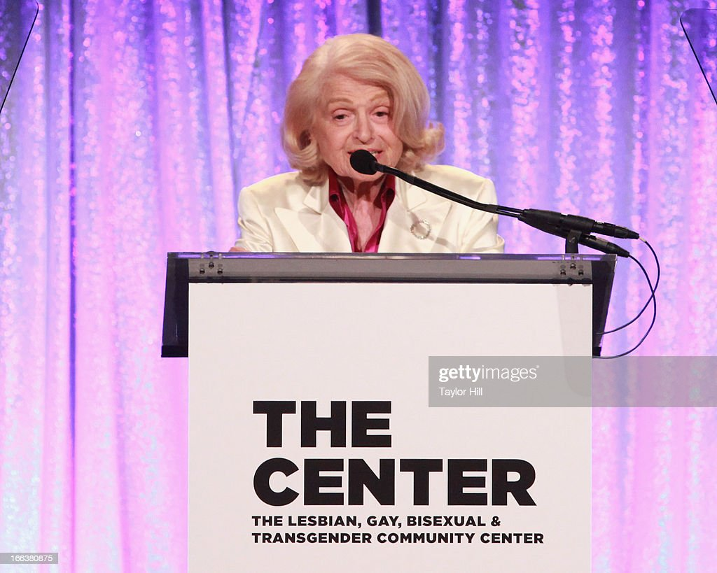 Edie Windsor speaks during the Center Dinner Annual Gala Honoring Edie Winsor at Cipriani, Wall Street on April 11, 2013 in New York City.