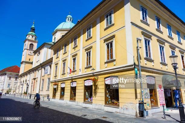 Edifice and Ljubljana Cathedral or St. Nicholas's Church. Ljubljana, Slovenia, Europe.