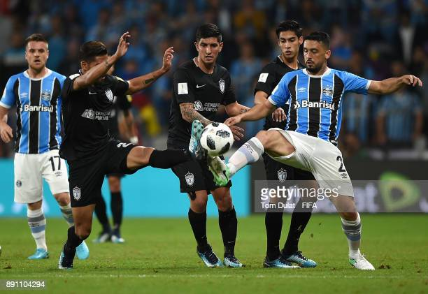 Edilson of Gremio FBPA battles for the ball during the FIFA Club World Cup UAE 2017 match between Gremio FBPA and CF Pachuca at Hazza Bin Zayed...