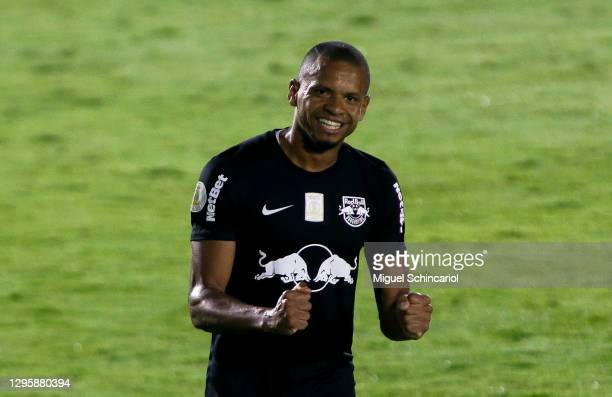 Edimar of Red Bull Bragantino celebrates after scoring second goal of his team during a match between Red Bull Bragantino and Atletico Mineiro as...
