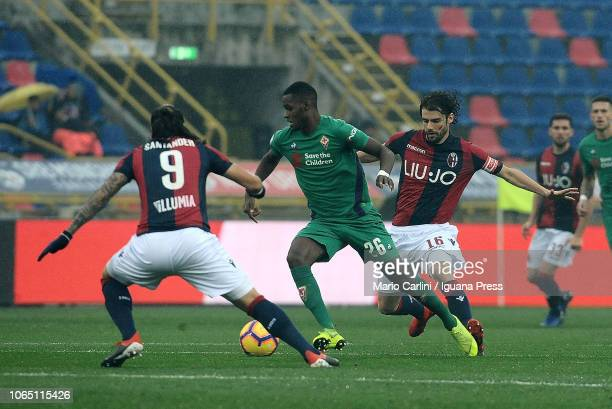 Edimilison Fernandes of ACF Fiorentina in action during the Serie A match between Bologna FC and ACF Fiorentina at Stadio Renato Dall'Ara on November...