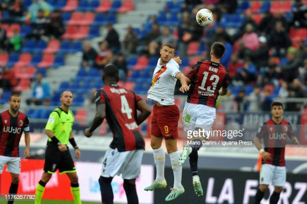 Edin Dzaeko of AS Roma scores his team's second goal during the Serie A match between Bologna FC and AS Roma at Stadio Renato Dall'Ara on September...