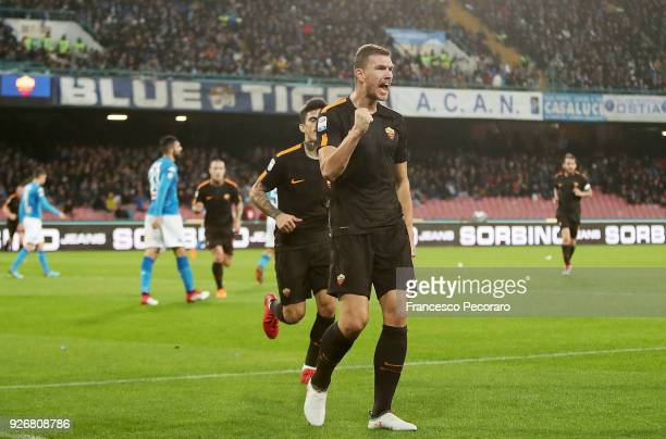 Edin Dzeko and Diego Perotti of AS Roma celebrate after the 12 goal scored by Edin Dzeko during the serie A match between SSC Napoli and AS Roma...