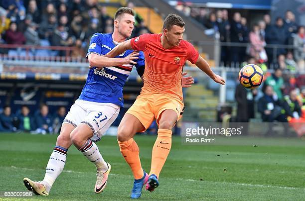Edin Dzeko and Milan Skriniar during the Serie A match between UC Sampdoria and AS Roma at Stadio Luigi Ferraris on January 29 2017 in Genoa Italy