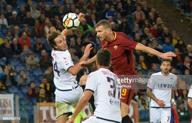Edin Dzeko and Stefan Simic during the Italian Serie A football match between AS Roma and FC Crotone at the Olympic Stadium in Rome on october 25 2017