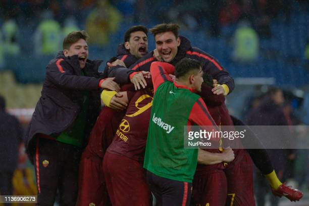 Edin Dzeko celebrates with Javier Pastore Ante Coric Daniel Fuzato after scoring goal 10 during the Italian Serie A football match between AS Roma...