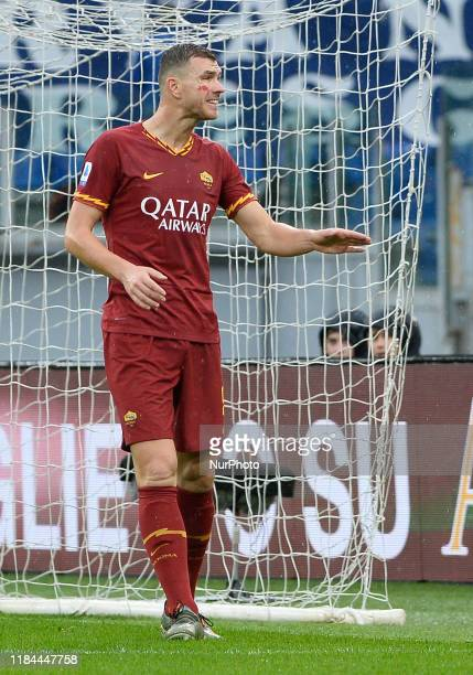 Edin Dzeko during the Italian Serie A football match between AS Roma and Brescia at the Olympic Stadium in Rome on november 24 2019