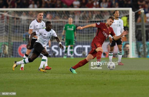 Edin Dzeko during the UEFA Champions League semifinal match between AS Roma and FC Liverpool at the Olympic stadium on may 02 2018 in Rome Italy