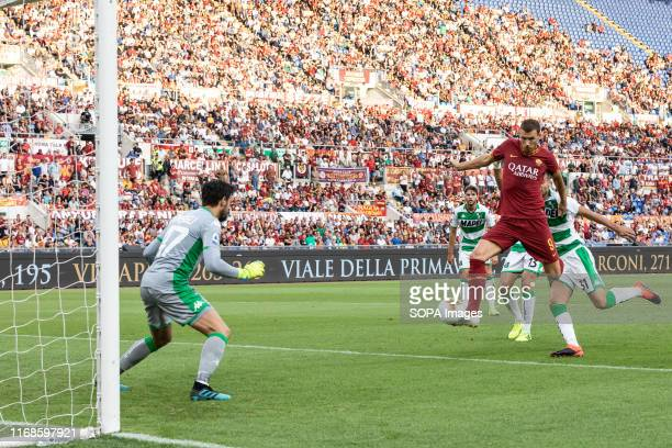 Edin Dzeko in action during the Serie A match between AS Roma and Sassuolo at Olimpico Stadium