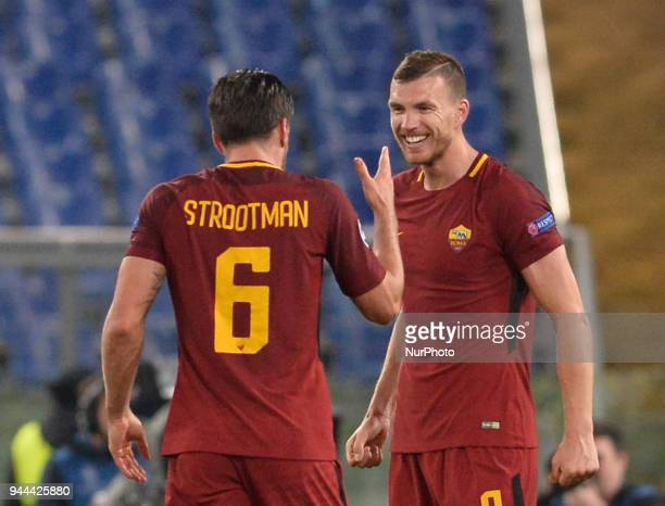 Edin Dzeko Kevin Strootman during the UEFA Champions League quarter final match between AS Roma and FC Barcelona at the Olympic stadium on April 10...
