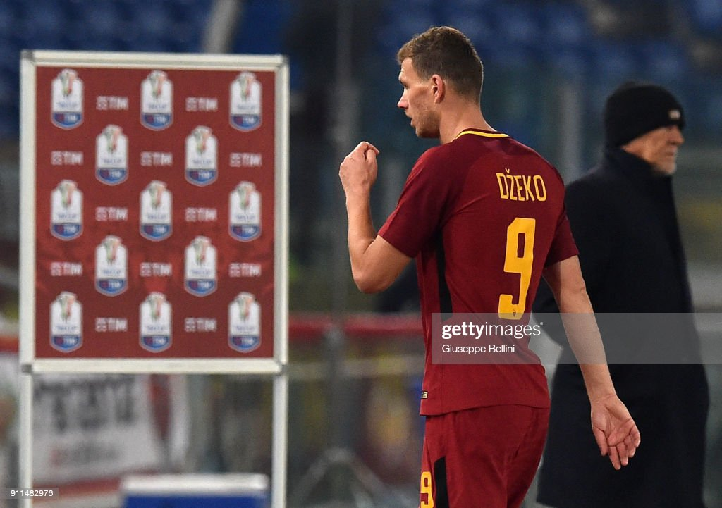 Edin Dzeko of AS Roma after the serie A match between AS Roma and UC Sampdoria at Stadio Olimpico on January 28, 2018 in Rome, Italy.