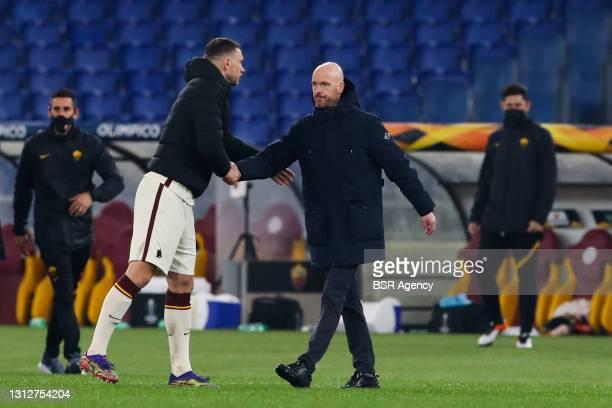 Edin Dzeko of AS Roma and coach Erik Ten Hag of Ajax during the UEFA Europa League Quarter Final: Leg Two match between AS Roma and Ajax at Stadio...
