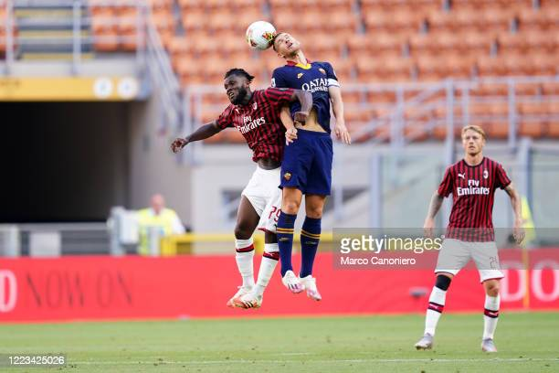 Edin Dzeko of As Roma and Franck Kessie of Ac Milan in action during the Serie A match between Ac Milan and As Roma Ac Milan wins 20 over As Roma