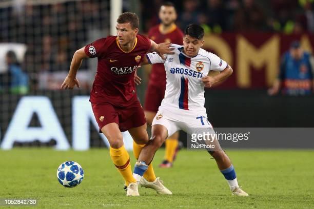 Edin Dzeko of AS Roma and Ilzat Akhmetov of PFC CSKA Moscow during the UEFA Champions League group G match between AS Roma and PFC CSKA Moscow at...