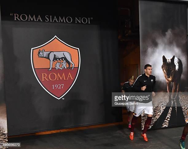 Edin Dzeko of AS Roma before the UEFA Champions League Group E match between AS Roma and Bayer 04 Leverkusen at Olimpico Stadium on November 4 2015...