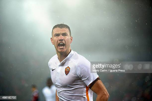 Edin Dzeko of AS Roma celebrates after scoring his team's second goal during the Serie A match between Bologna FC and AS Roma at Stadio Renato...