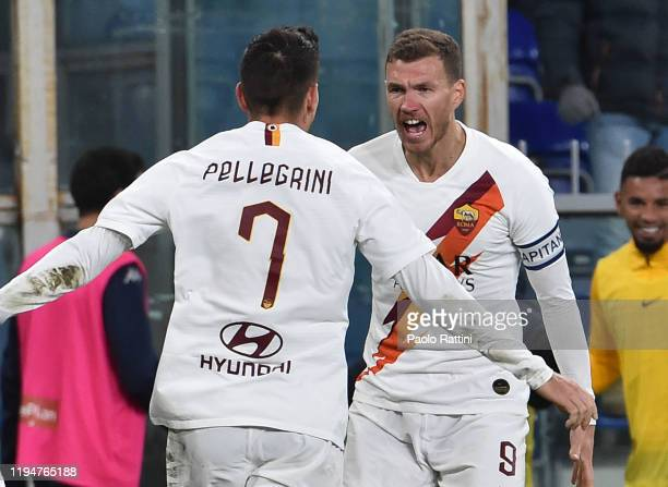 Edin Dzeko of AS Roma celebrates after scoring the goal 13 during the Serie A match between Genoa CFC and AS Roma at Stadio Luigi Ferraris on January...