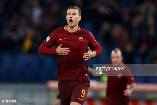 Edin Dzeko of AS Roma celebrates after the goal of 10 scored during the Serie A match between AS Roma and FC Torino at Stadio Olimpico on February 19...