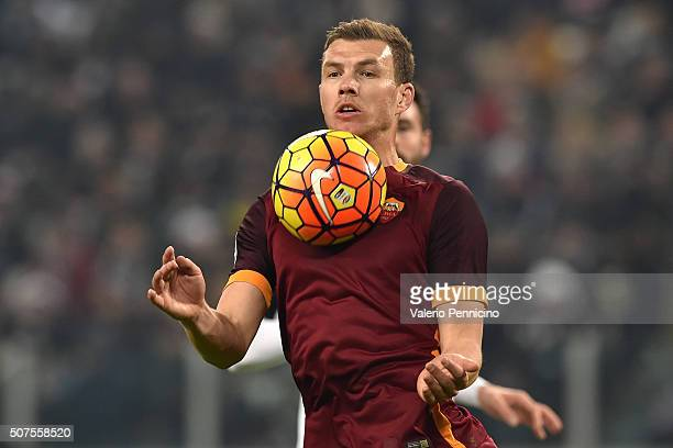 Edin Dzeko of AS Roma controls the ball during the Serie A match between Juventus FC and AS Roma at Juventus Arena on January 24 2016 in Turin Italy