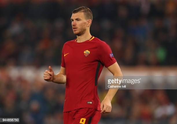 Edin Dzeko of AS Roma during the UEFA Champions League Quarter Final Leg Two between AS Roma and FC Barcelona at Stadio Olimpico on April 10 2018 in...