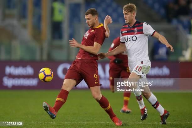 Edin Dzeko of AS Roma Filip Helander of Bologna FC during the Italian Serie A match between AS Roma v Bologna at the Stadio Olimpico Rome on February...
