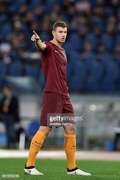 Edin Dzeko of AS Roma gestures during Italian Serie A soccer match between AS Roma and Bologna FC at Stadio Olimpico on November 6 2016 in Rome Italy