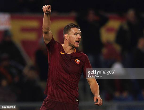Edin Dzeko of AS Roma gestures during the Serie A match between AS Roma and AC Milan at Stadio Olimpico on December 12 2016 in Rome Italy