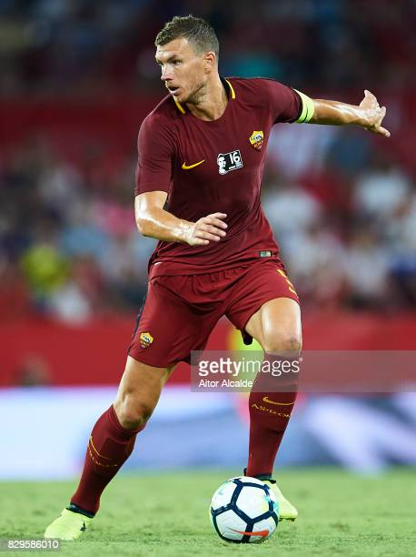 Edin Dzeko of AS Roma in action during a Pre Season Friendly match between Sevilla FC and AS Roma at Estadio Ramon Sanchez Pizjuan on August 10 2017...