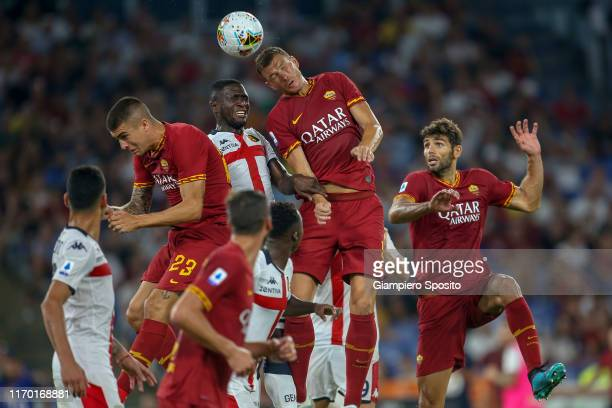 Edin Dzeko of AS Roma in action during the Serie A match between AS Roma and Genoa CFC at Stadio Olimpico on August 25 2019 in Rome Italy