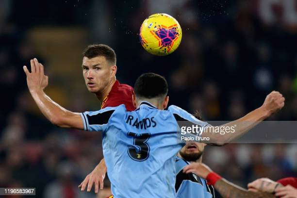 Edin Dzeko of AS Roma in action during the Serie A match between AS Roma and SS Lazio at Stadio Olimpico on January 26, 2020 in Rome, Italy.