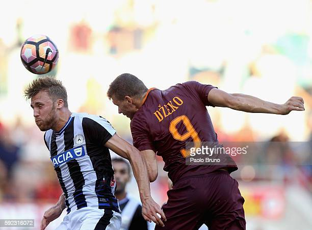 Edin Dzeko of AS Roma in action during the Serie A match between AS Roma and Udinese Calcio at Olimpico Stadium on August 20 2016 in Rome Italy