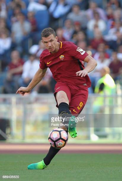 Edin Dzeko of AS Roma in action during the Serie A match between AS Roma and Genoa CFC at Stadio Olimpico on May 28 2017 in Rome Italy