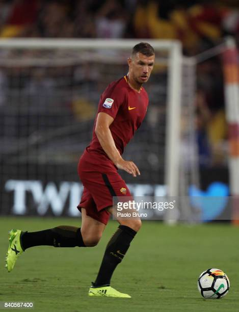 Edin Dzeko of AS Roma in action during the Serie A match between AS Roma and FC Internazionale on August 26 2017 in Rome Italy