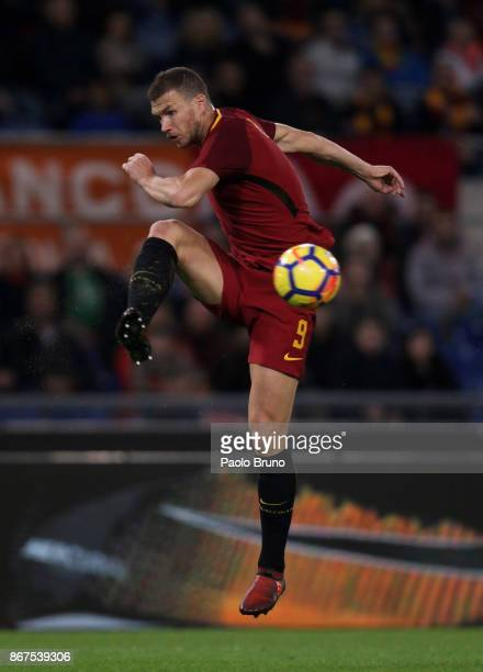 Edin Dzeko of AS Roma in action during the Serie A match between AS Roma and Bologna FC at Stadio Olimpico on October 28 2017 in Rome Italy