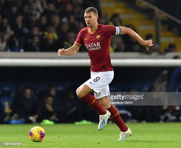 Edin Dzeko of AS Roma in action during the Serie A match between Parma Calcio and AS Roma at Stadio Ennio Tardini on November 10 2019 in Parma Italy