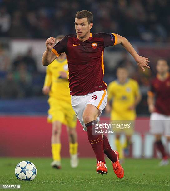 Edin Dzeko of AS Roma in action during the UEFA Champions League group E match between AS Roma and FC BATE Borisov on December 9 2015 in Rome Italy