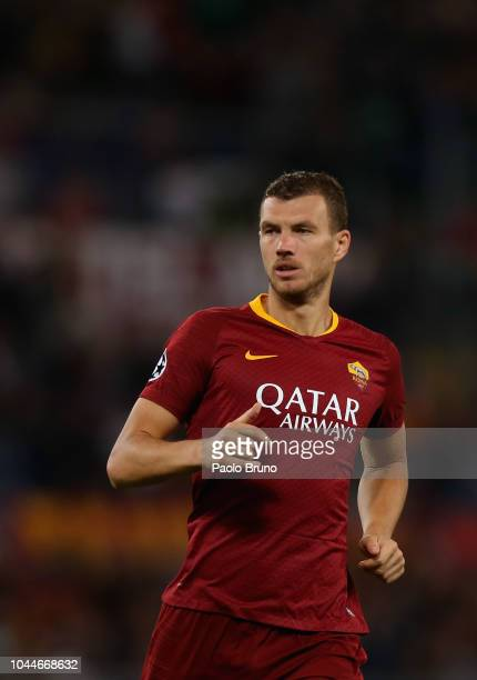 Edin Dzeko of AS Roma looks on during the Group G match of the UEFA Champions League between AS Roma and Viktoria Plzen at Stadio Olimpico on October...