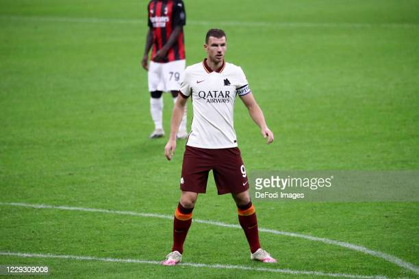 Edin Dzeko of AS Roma looks on during the Serie A match between AC Milan and AS Roma at Stadio Giuseppe Meazza on October 26 2020 in Milan Italy